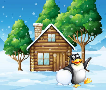 Illustration of a penguin in front of the wooden house Vector