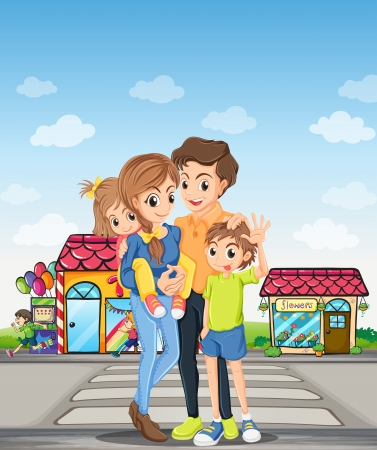 Illustration of a family at the pedestrian lane Vector
