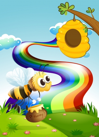 Illustration of a bee carrying a pot of honey going to the beehive near the rainbow Vector