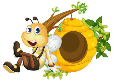 hindwing: Illustration of a bee sitting beside the beehive on a white background