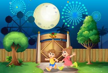 fenced: Illustration of the kids playing outdoor in the middle of the night
