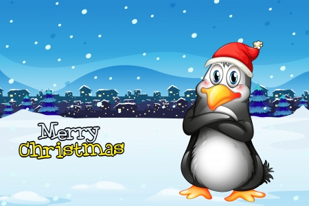 Illustration of a christmas template with a penguin Vector