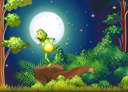 Illustration of a playful frog standing above the rock at the forest Vector
