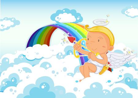 targetting: Illustration of Cupid sitting beside the rainbow