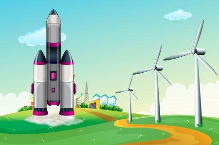 hilltop: Illustration of an aircraft at the hilltop with windmills Illustration
