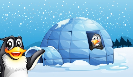 Illustration of the penguins and the igloo Vector