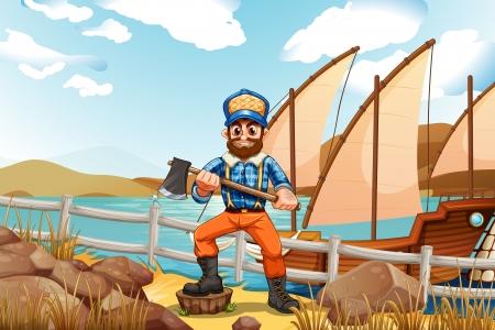 강둑: 배와 강둑에서 나무꾼의 그림