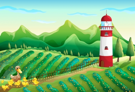 Illustration of a farm with a duck and ducklings across the tower Vector
