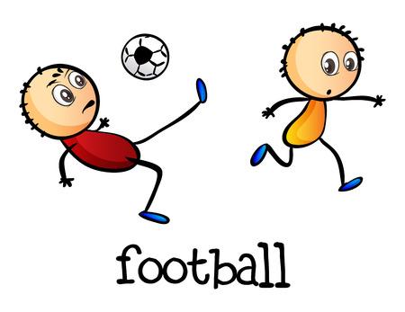 stickmen: Illustration of the stickmen playing football on a white background