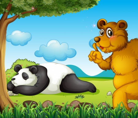 under tree: Illustration of a white bear sleeping soundly and a brown bear under the tree Illustration