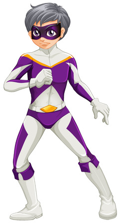 Illustration of a male super hero with a violet mask on a white background Vector
