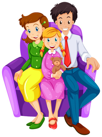 Illustration of a happy family sitting on a couch on a white background Vector