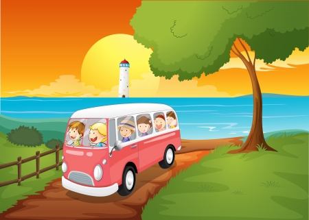 Illustration of a pink schoolbus travelling