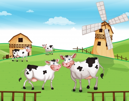 Illustration of the cows at the hilltop with a windmill Vector