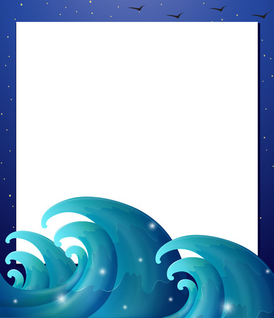 Illustration of an empty paper template with waves Vector