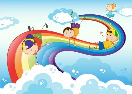 bimbi che giocano: Illustrazione dei stickmen che giocano con l'arcobaleno Vettoriali