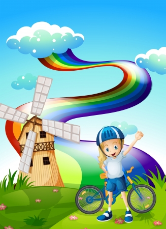 hilltop: Illustration of a young biker at the hilltop with a windmill and a rainbow