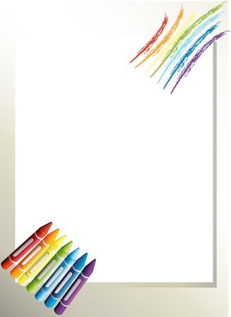 school frame: Illustration of an empty paper template with crayons Illustration