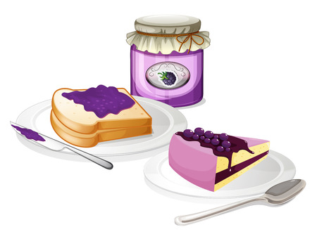 jam sandwich: Illustration of the jam and bread on a white background