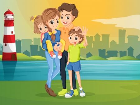 parola: Illustration of a family across the lighthouse Illustration