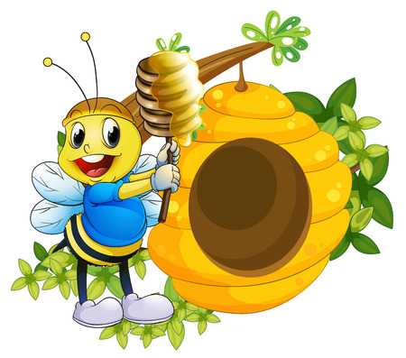 hives: Illustration of a happy bee playing with the honey near the beehive on a white background Illustration