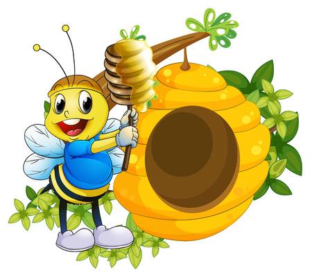 arboles frondosos: Ilustración de una abeja feliz jugando con la miel cerca de la colmena en un fondo blanco Vectores