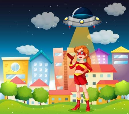 Illustration of a super hero below the saucer