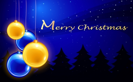 Illustration of a merry christmas template with four balls Vector