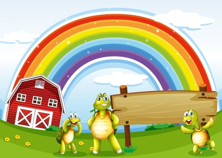 Illustration of the three turtles near the wooden signboard and the rainbow Vector