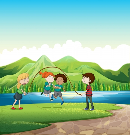 riverbank: Illustration of the kids playing skipping rope at the riverbank Illustration