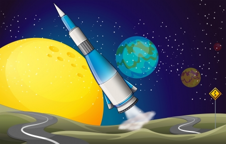 outerspace: Illustration of a spaceship and two winding roads