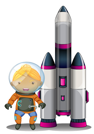 Illustration of an astronaut standing beside the big spaceship on a white background Vector