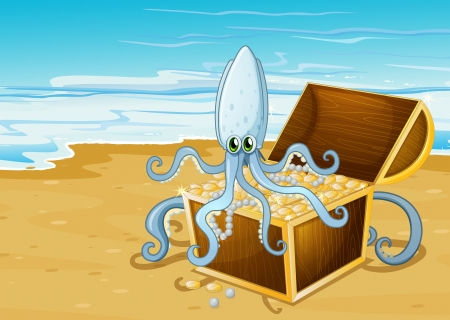 Illustration of a beach with a treasure box with an octopus Vector