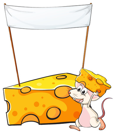 Illustration of a mouse carrying a slice of cheese below the empty banner on a white background Vector