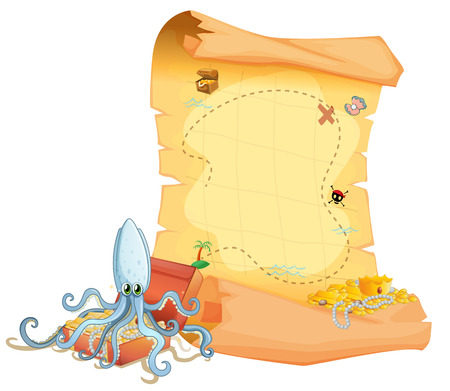 Illustration of a treasure map and an octopus above the treasure box on a white background