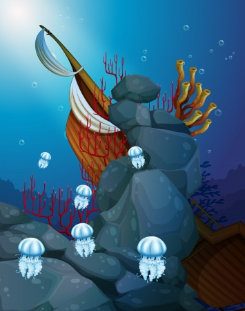 Illustration of the jellyfishes under the sea with a wrecked ship