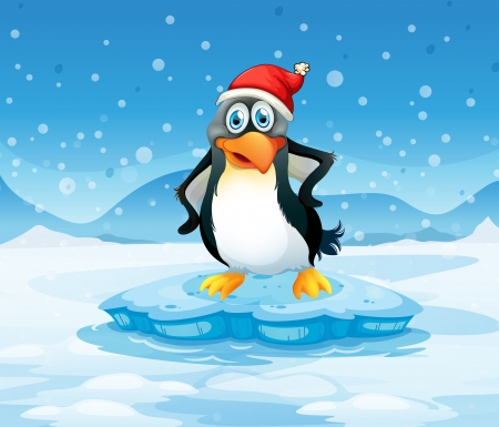 Illustration of a penguin wearing Santas hat standing above an iceberg Vector