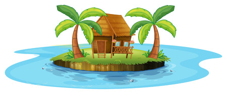 Illustration of a small nipa hut in an island on a white background Vector