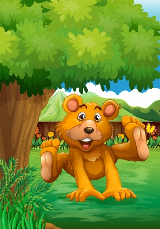 fenced: Illustration of a brown bear playing under the tree at the backyard Illustration