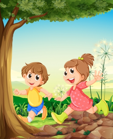 Illustration of the two adorable kids playing under the tree