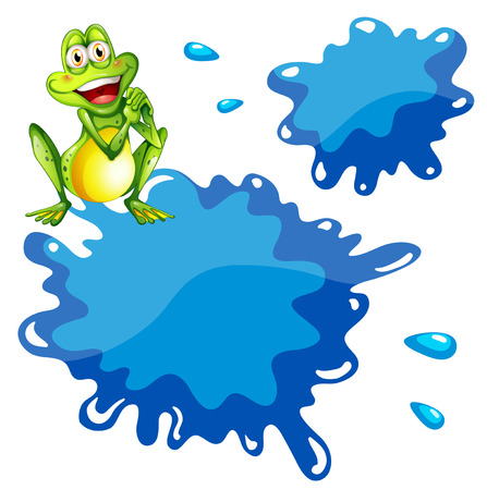 canvass: Illustration of a green frog and an empty blue template on a white background