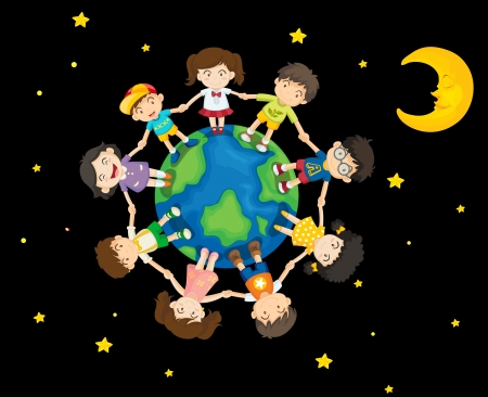 children circle: Illustration of the kids around the Earth Illustration