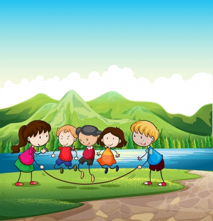 Illustration of the kids playing outdoor near the river Vector