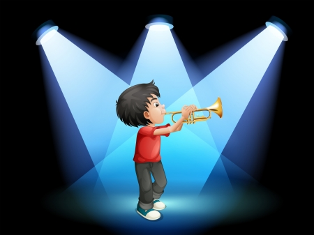 Illustration of a young boy with a trumpet at the stage Vector