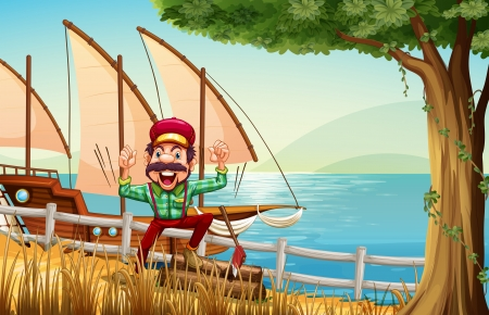 Illustration of a lumberjack near the fence at the riverbank with a ship Vector