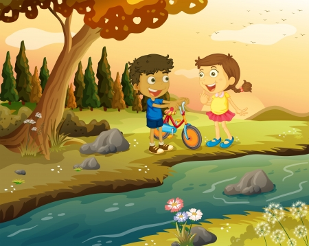 riverbank: Illustration of a boy and a girl with a bike standing at the riverbank