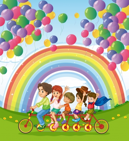 below: Illustration of a multi-wheeled bike below the floating balloons near the rainbow Illustration