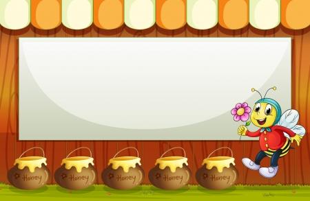 animal: Illustration of an empty signboard above the pot of honeys Illustration