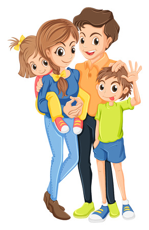 Illustration of a family on a white background Vector