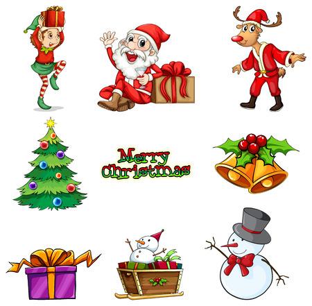 enano: Ilustración de las decoraciones de Navidad sobre un fondo blanco Vectores
